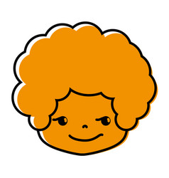 Color boy head with curly hair and rogue face vector