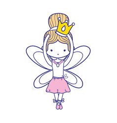 Colorful girl dancing ballet with crown and wings vector