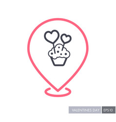 Cupcake with two hearts pin map icon vector