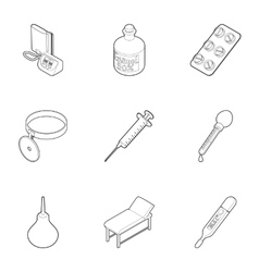 Diagnosis icons set outline style vector