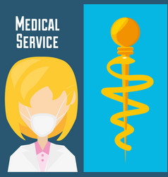 Doctor with mask and medicine symbol vector