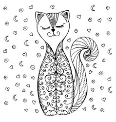 doodle cat pattern and hearts vector image vector image