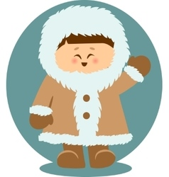 Eskimo Kid Waving Hello Isolated vector image