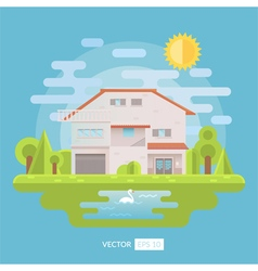 Flat house with garden and lake vector image