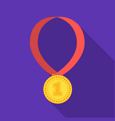 Gold medal for equestrian sport icon in flat style vector