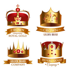 golden crown of kingdom with ribbon isolated set vector image
