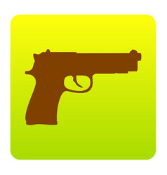 Gun sign brown icon at green vector