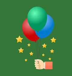 Hand holding colorful balloons Flat design vector image