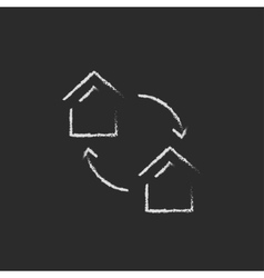 House exchange icon drawn in chalk vector image vector image