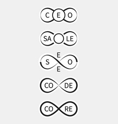 Icons ceo sale seo codecore with infinity sign vector