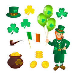 leprechaun treasure shamrock to st patricks day vector image
