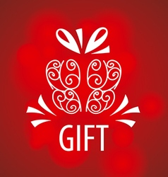 Logo gift on a red background vector