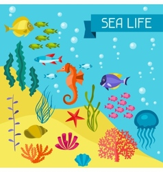 Marine life background design with sea animals vector image vector image