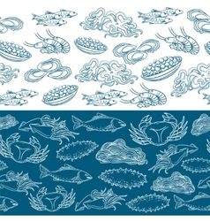 Marine life seamless borders vector image vector image