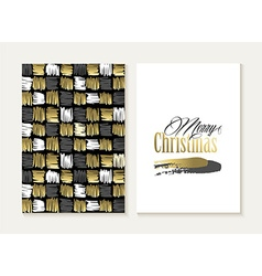 Merry christmas card set pattern gold indian shape vector image