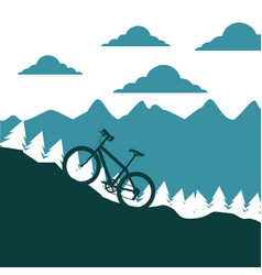 Mountain bike ascending silhouette landscape vector
