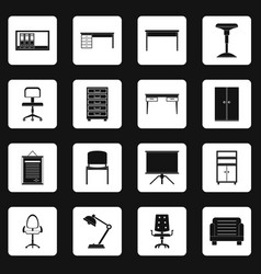 Office furniture icons set squares vector