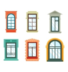 Old window frames view isolated house wall vector