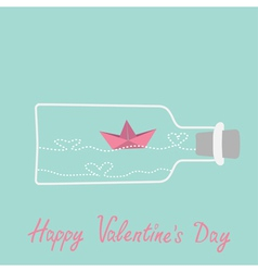 Origami paper boat and heart wave wine bottle vector image