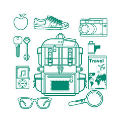 overhead view of traveler accessories essential vector image vector image