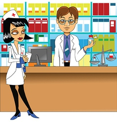Pharmacist and nurse vector image vector image