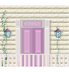 pink door entrance facade vector image vector image