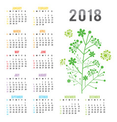 planner calendar new year 2018 flower vector image