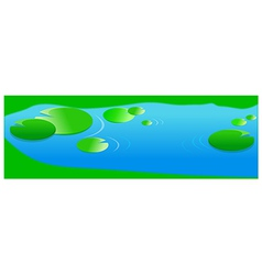Pond with lilies leaf vector