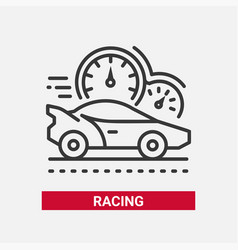 racing game - line design single isolated icon vector image vector image