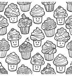 Seamless pattern with cute smiling cupcakes on vector