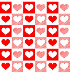Seamless red white hearts sketch vector image