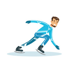 Short track speed male skater athlete character in vector