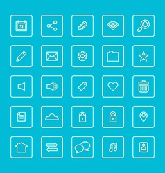 Square Line Website Icons Set vector image vector image