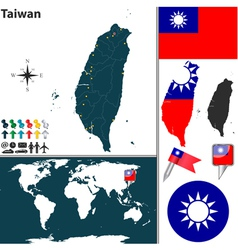 Taiwan map world vector