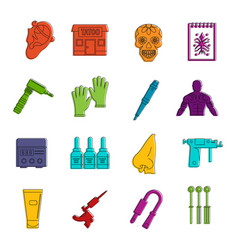 Tattoo parlor icons doodle set vector
