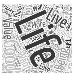 The good life text background wordcloud concept vector