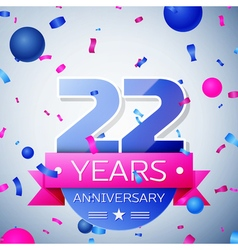 Twenty two years anniversary celebration on grey vector image vector image