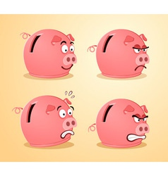 various expression of piggybank vector image