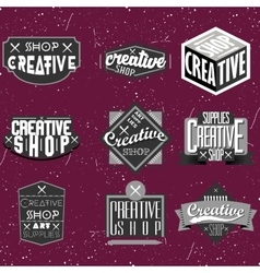Vintage black and white logotype vector image