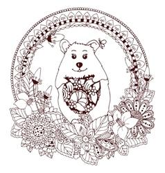 Zen tangle hamster and peas vector