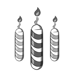 Festive candles icon black monochrome style vector