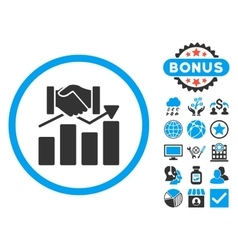 Acquisition graph flat icon with bonus vector