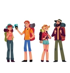 Set of young male and female travelers with vector