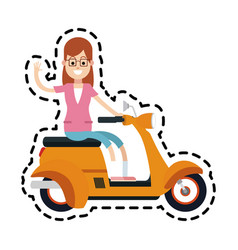 Yellow scooter icon image vector