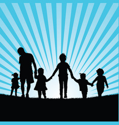 Family big with children enjou in nature vector