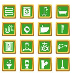 plumbing icons set green vector image