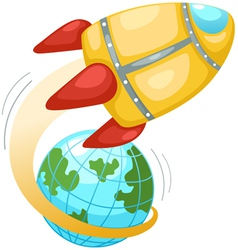 Rocket and earth globe vector