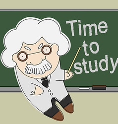 Old professor point to chalkboard vector