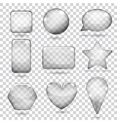 Transparent gray glass shapes vector image
