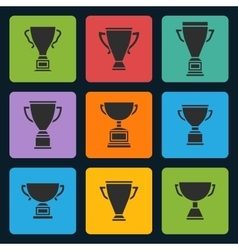 Black trophy cup icons set vector